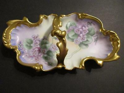 Hermann Ohme  Signed Decorative Dish Flowers Handle Gold Gilded Floral