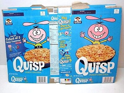 Lot Of 2 Quisp Cereal Re-Boot 2010-2011 Cereal Boxes Flattened Quaker Oats