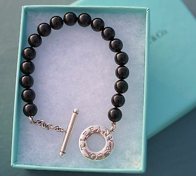 Tiffany Beads Bracelet/black Onyx With Sterling Silver Toggle/excellent/box