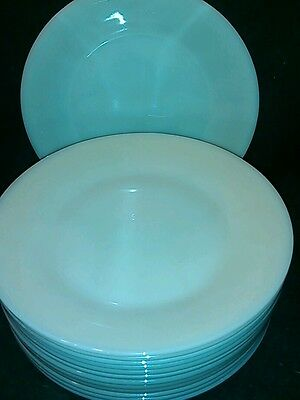 "Fire King Oven Glass Round 9"" Dinner Plate - Ivory~ BAKERS DOZEN! 13 TOTAL ~EUC!"