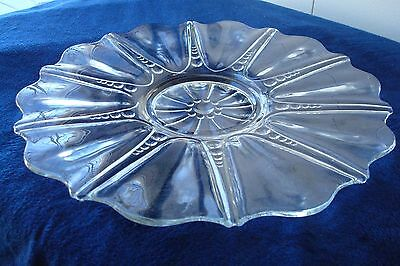 Anchor Hocking Glass Oyster and Pearl Sandwich Serving Plate Depression Crystal