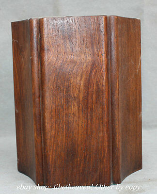 """7"""" Old Chinese Wood Hexagon Scholar Supplies Container Brush Pot"""