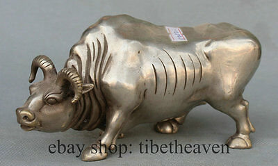 "8"" Silver Very Strong Bull Statue Chinese Fengshui Zodiac Year Oxen Sculpture"