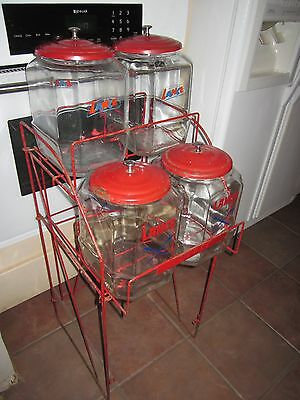 VINTAGE 1940s LANCE 4 JAR CANDY STORE DISPLAY RACK with 4 jars and lids