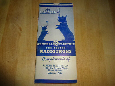 1937 General Electric Pre Tested Radiotrons Parker Electric Calgary