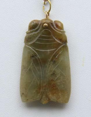 Vintage Jade Chinese Carved Cicada Pendant with 14K Yellow Gold Headpin Bail