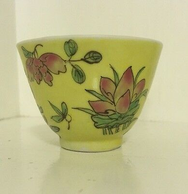 Antique Chinese Porcelain Small Wine Tea Cup Lotus Design