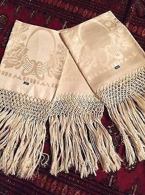 Vtg Antique Czech Damask Linen Table Cloth Runner Fringe Unused With Label Lot