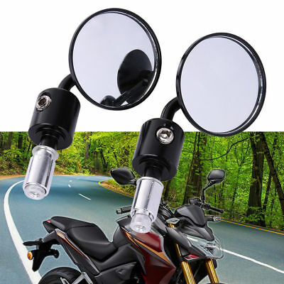 """Cnc Motorcycle Black 3"""" Round 7/8"""" Bar End Mirrors Cafe Racer Bobber Clubman"""