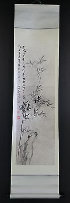"""CHINESE HANGING SCROLL ART Painting """"Bamboo"""" Asian antique  #E3481"""