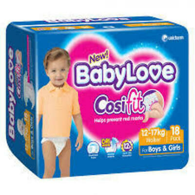 BabyLove Cosifit Nappies Walker Baby Diapers 12-17kg 18 Pack