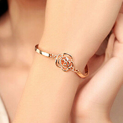 Chic Women Jewelry Rose Flower Gold Plated Charm Cuff Bangle Bracelet Present SA
