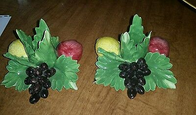 Capodimonte Italian Pottery L'atelier Fruit Candle Holders N Crown Mark