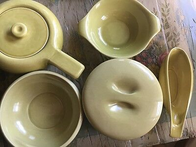 Russell Wright by Iriquois Five Chartreuse Pottery Pieces