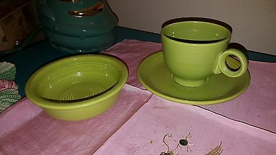 "Fiesta chartreuse fruit bowl 5"" Cup & Saucer Homer Laughlin Fiestaware  RETIRED"