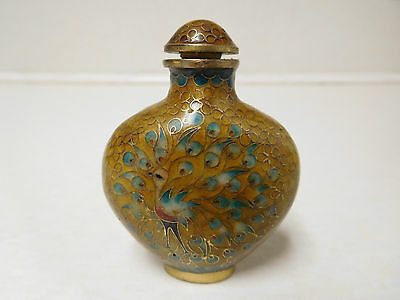 Vintage Brass Enamel Painted Peacock Chinese Snuff Bottle with Spoon