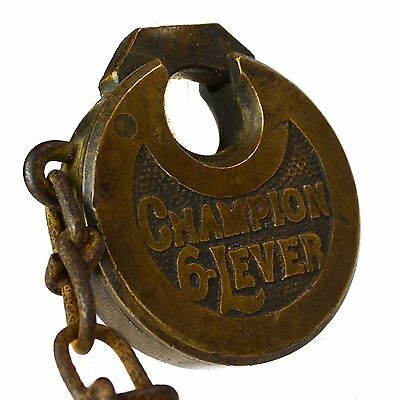 MILLER CHAMPION 6 SIX LEVER Padlock Old Vintage Antique Brass Pad Lock (no key)