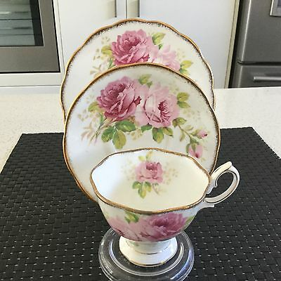 Royal Albert Crown  China Trio American Beauty Pattern Made In England