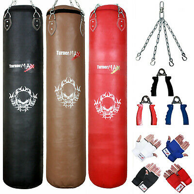 TurnerMAX Heavy Boxing Punch Bag Filled Leather Hanging Punching Set Muay Thai