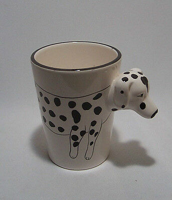Dalmatian Dog Ceramic Cup Mug Extended Dog's Head that forms the Handle Unique