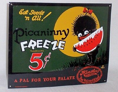 Black Americana Advertising Metal Sign PICANINNY FREEZE