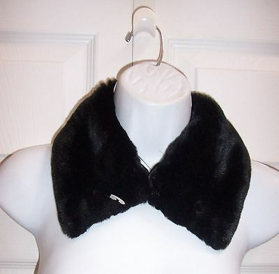 Small Black Faux Fur Collar Apparel Accessory Coat Jacket or Sweater Buttons On
