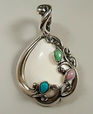 Carolyn Pollack Sterling White Agate Multi-Stone Cascades Enhancer Pendant