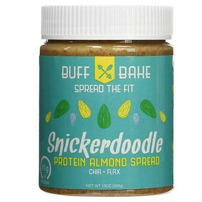 NEW Buff Bake 6SDOzn1 11g Protein Almond Butter Snickerdoodle Spread Whey Flax
