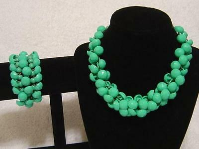VINTAGE 1950s TURQUOISE LUCITE BEADED CHA CHA COLLAR NECKLACE EXPANSION BRACELET