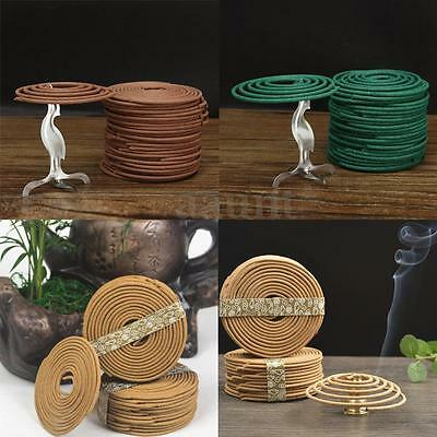 48pcs Natural Coil Incense Fragrance Indoor Aromatherapy Buddhist Holder 3 Hours