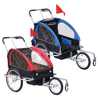 New 2-1 Bicycle Carrier Double Infant Child Baby Bike Trailer Jogger Stroller