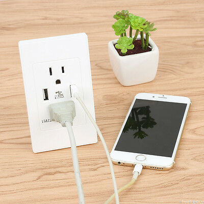 USB Port Electric Wall Charger Dock Station Socket Power Outlet Panel Plate H