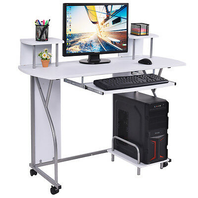 Rolling Computer Desk PC Laptop Desk Pull Out Tray Home Office Workstation  White