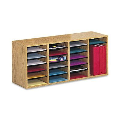 Safco Products Wood Adjustable Literature Organizer, 24 Compartment, Oak (9