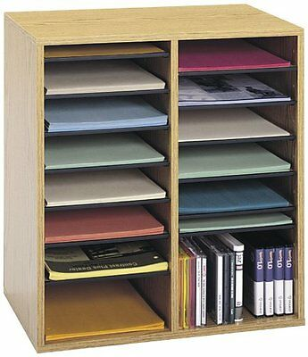 Safco Products Wood Adjustable Literature Organizer, 16 Compartment, Oak (9