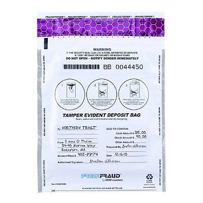 MMF Industries FREEZFraud Deposit Bags, 9 x 12 Inches, 100 Bags Per Pack, W