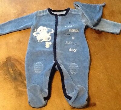 Velour babygrow And Hat 3-6 months