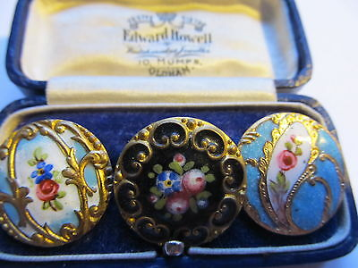 ANTIQUE VINTAGE BUTTONS c 1890-1915 ENAMEL,COLLECTABLE ,HAND PAINTED  FLORAL,
