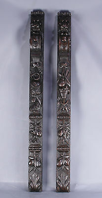 Antique Hunting scene Pair Of Wood Carved Balusters Columns