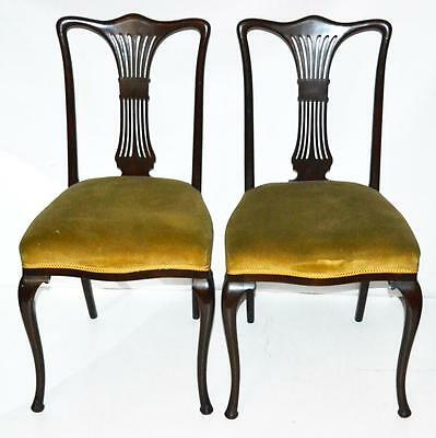 Pair of Antique Queen Anne Style Mahogany Dining Chairs -FREE Shipping [PL1992 ]
