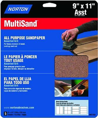 Norton 47765 Multisand Sandpaper Assorted Grit, 9-Inch x 11-Inch, 5-Pack