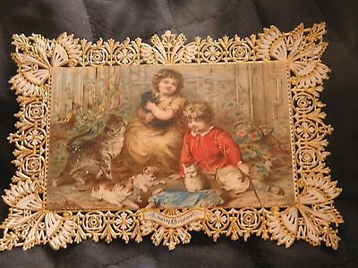 Antique Victorian Die cut and gold paper lace  Christmas card Children and cats