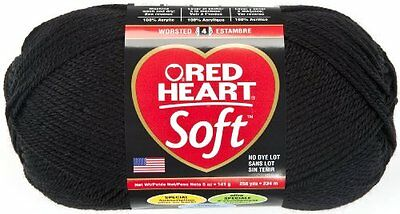 Red Heart  Soft Yarn, Black