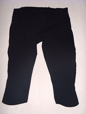Womens Black Lululemon Crop Tights Size Can 6 Aus 8-10