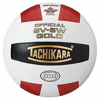 Tachikara SV5W Gold Competition Premium Leather Volleyball (Scarlet/White/B