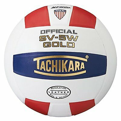 Tachikara SV5W Gold Competition Premium Leather Volleyball (Scarlet/White/N
