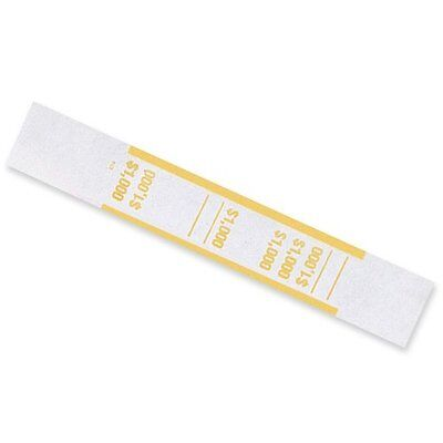 MMF Industries Self-Adhesive Currency Straps, Yellow, $1000 in $10 Bills, 1