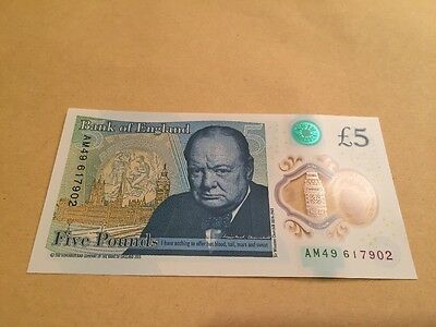 New Plastic Polymer Five Pound Note AM 49 Uncirculated Unc UK £5 England Bank