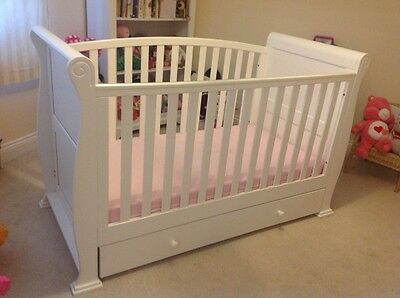 White Sleigh Cot Bed With Drawer