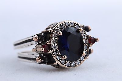 Turkish Reversible Oval Sapphire Ruby Jade Topaz 925 Sterling Silver Ring